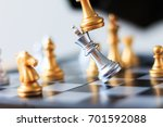 close up shot golden chess to...   Shutterstock . vector #701592088
