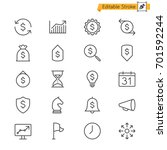 business thin icons. editable... | Shutterstock .eps vector #701592244