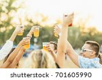 friends drinking beer and... | Shutterstock . vector #701605990