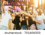 friends drinking beer and... | Shutterstock . vector #701606503