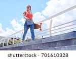 low angle of good looking... | Shutterstock . vector #701610328