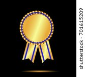 gold  award medal and ribbon... | Shutterstock .eps vector #701615209