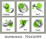 vegetables background set.... | Shutterstock .eps vector #701616394