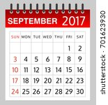 calendar of september 2017 on... | Shutterstock .eps vector #701623930