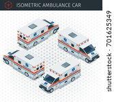 isometric ambulance car. 3d... | Shutterstock .eps vector #701625349
