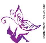 Purple Silhouette Of A  Fallin...