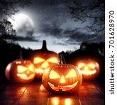Pumpkin Halloween In A Dark ...