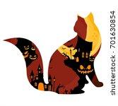 halloween pumpkin theme art... | Shutterstock .eps vector #701630854