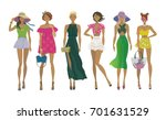 set of young stylish girls.... | Shutterstock .eps vector #701631529