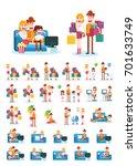 set of familiar people scenes... | Shutterstock .eps vector #701633749