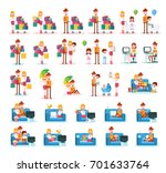 set of familiar people scenes... | Shutterstock .eps vector #701633764