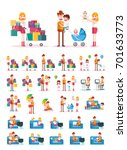 set of familiar people scenes... | Shutterstock .eps vector #701633773