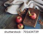 autumn still life with apples ...   Shutterstock . vector #701634739