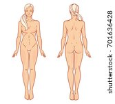 female body front and back view ... | Shutterstock .eps vector #701636428