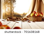autumn window with golden... | Shutterstock . vector #701638168