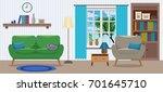 cozy elegant interior of living ... | Shutterstock .eps vector #701645710