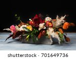 Colorful Fall Bouquet On Blue...