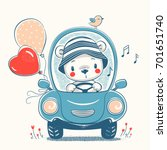 cute baby bear driving car... | Shutterstock .eps vector #701651740