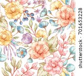 seamless vector floral pattern  ... | Shutterstock .eps vector #701653228