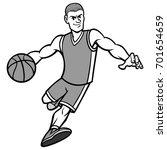basketball player dribbling...   Shutterstock .eps vector #701654659