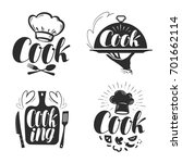 cook  chef logo or label....   Shutterstock .eps vector #701662114