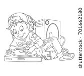 coloring page of cartoon dj boy ...   Shutterstock .eps vector #701662180