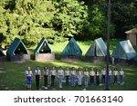 czech boy and girl scouts... | Shutterstock . vector #701663140