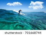 muscular surfer with long white ... | Shutterstock . vector #701668744