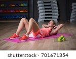 a graceful woman practicing...   Shutterstock . vector #701671354