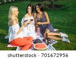 happy young women friends...   Shutterstock . vector #701672956