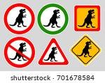 tyrannosaurus rex sign on gray...   Shutterstock .eps vector #701678584
