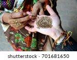 indian henna hand painting.... | Shutterstock . vector #701681650