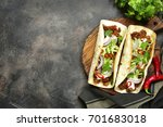 mexican tacos with pulled beef... | Shutterstock . vector #701683018