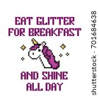 pixel art unicorn with stars... | Shutterstock .eps vector #701684638
