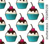 cupcake vector seamless pattern.... | Shutterstock .eps vector #701690158