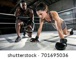 mma boxing gym trainer pushes... | Shutterstock . vector #701695036