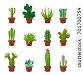 set of desert or room green... | Shutterstock .eps vector #701700754