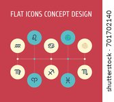 flat icons fishes  comet  lion...