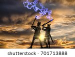 mythical duel between two old...   Shutterstock . vector #701713888