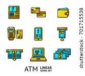 vector set of atm linear icons  ... | Shutterstock .eps vector #701715538