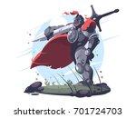 medieval knight in metal armor... | Shutterstock .eps vector #701724703