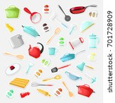 set of stickers with utensils... | Shutterstock .eps vector #701728909