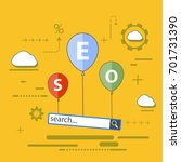 seo optimization. balloons with ... | Shutterstock .eps vector #701731390