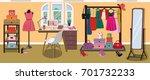bright modern designer's room... | Shutterstock .eps vector #701732233