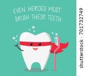 superhero tooth holding... | Shutterstock .eps vector #701732749