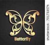 3d golden ornamental butterfly... | Shutterstock .eps vector #701733574