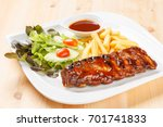 barbecue grilled pork ribs... | Shutterstock . vector #701741833