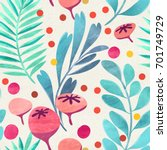 seamless floral pattern on... | Shutterstock . vector #701749729