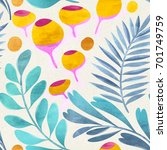 seamless floral pattern on...   Shutterstock . vector #701749759