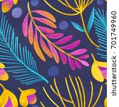 seamless floral pattern on... | Shutterstock . vector #701749960